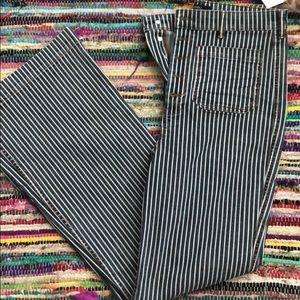 Stripped wide leg jeans